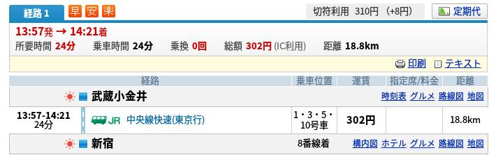 武蔵小金井→新宿|乗換案内|ジョルダン